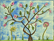 Fantasy Tree Art Drawings Prints - A tree making fruit  Print by Cathy Peterson