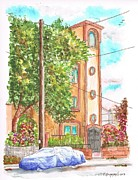 Santa Monica Paintings - A tree near a tower building in Santa monica - CA by Carlos G Groppa