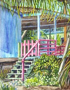 Garden Scene Drawings Posters - A Tropical Beach House Poster by Carol Wisniewski
