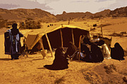SAHARA Mixed Media - A Tuareg camp in the Sahara by Anthony Dalton