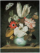 Carnation Painting Metal Prints - A Tulip and Other Flowers ina  vase Metal Print by Johannes Goedaert