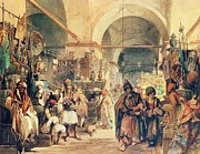 Market Framed Prints - A Turkish Bazaar Framed Print by Amadeo Preziosi