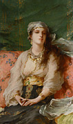 Gold Belt Framed Prints - A Turkish Beauty Framed Print by Gaetano de Martini