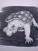 Richie Montgomery Drawings - A Turtle Named Puppy by Richie Montgomery
