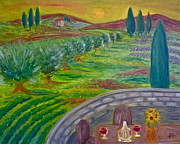 Tuscan Sunset Painting Prints - A Tuscan Balcony Print by Victoria Lakes
