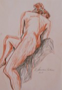 Live Art Drawings Prints - A Twisted Nude Print by Esther Newman-Cohen