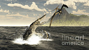 Extinct Bird Framed Prints - A Tylosaurus Jumps Out Of The Water Framed Print by Arthur Dorety