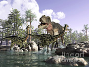 Animal Behavior Digital Art - A Tyrannosaurus Rex Hunting Two by Leonello Calvetti