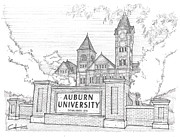 University Campus Buildings Drawings Drawings - A U by Calvin Durham