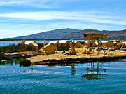 Friendly Digital Art - A Uros Island in Lake Titicaca named Isla Jacha Challwa  by Ruth Hager