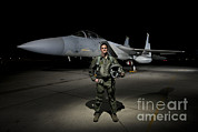 Full-length Portrait Prints - A U.s. Air Force Pilot Stands In Front Print by Terry Moore