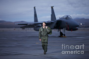 Full-length Portrait Metal Prints - A U.s. Air Force Pilot Walking Away Metal Print by Terry Moore
