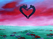 Celebration Art Print Painting Framed Prints - A Valentines Dream Framed Print by Krista May