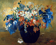 Red Bouquet Paintings - A Vase of Flowers by Paul Gauguin