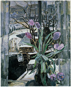 Purple Tulip Paintings - A Vase of Tulips in Front of a Window by Johannes Carolus Bernardus Sluijters