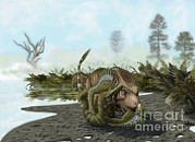 Velociraptor Digital Art - A Velociraptor Attacks A Protoceratops by Yuriy Priymak