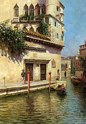 Gondolier Framed Prints - A Venetian Backwater Framed Print by Rubens Santoro