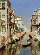 Gondolier Digital Art Framed Prints - A Venetian Canal  Framed Print by Rubens Santoro
