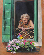 Oil Portrait Painting Originals - A Venetian Spectator by Anna Bain