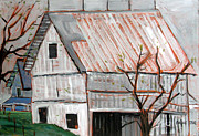 Farm Buildings Painting Originals - A Very Gray Day by Charlie Spear