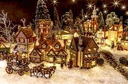 Christmas Village Posters - A Very Merry Christmas Poster by Caitlyn  Grasso