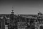 N.y. Posters - A View From The Top BW Poster by Susan Candelario
