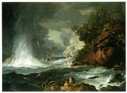 Water Vessels Paintings - A View of Cape Stephens in Cooks Straits with Waterspout by William Hodges