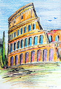 Roman Ruins Drawings Posters - A view of the Colosseo in Rome Poster by Roberto Gagliardi