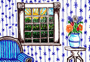 Living Room Drawings Prints - A View Out The Window Print by Beverly Farrington