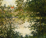 Foliage Paintings - A View Through the Trees of La Grande Jatte Island by Claude Monet
