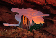 Siamese Photo Prints - A View Through Window Rock at Siamese Twins Print by John Hoffman