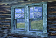 Cabin Window Prints - A View to the Tetons Print by Sandra Bronstein