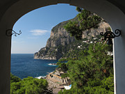 Summer Relaxation Framed Prints - A view toward the cliffs on island Capri Framed Print by Kiril Stanchev