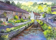 Creek Drawings Acrylic Prints - A Village in Castleton in Derbyshire UK Acrylic Print by Carol Wisniewski