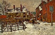 Snow Scene Digital Art Posters - A Village In The Snow Poster by Henry King
