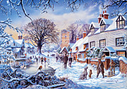People Digital Art Posters - A Village in Winter Poster by Steve Crisp