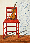 Treatment Painting Prints - A Violin In Repose Watercolor Painting Print by Valerie Garner