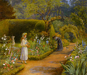 Flower Basket Posters - A Visit To Grandmother Poster by Arthur Hughes