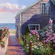 Shore Painting Framed Prints - A Visit to P Town Two Framed Print by Laura Lee Zanghetti