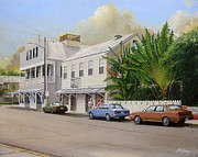 Key West Paintings - A Walk Down Caroline Street by Bob  George
