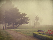 Statues Digital Art Prints - A Walk in the Fog Print by Laurie Search
