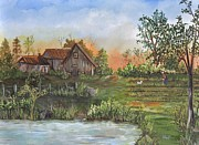 Rural Living Painting Posters - A Walk in the Garden Poster by Reb Frost