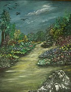 Garden Scene Paintings - A Walk in the Garden by Rhonda Clapprood