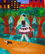 Dog Walking Mixed Media Posters - A Walk in the Park Poster by Gina Alequin