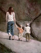 Figures Pastels - A Walk in the Park by Jim Fronapfel
