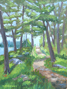 River View Paintings - A Walk In The Park by Robert P Hedden