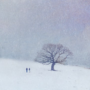 Silhouetted Posters - A walk in the snow Poster by Lyn Randle