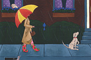 Cute Painting Posters - A Walk on a Rainy Day Poster by Christy Beckwith