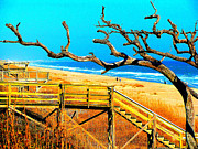 A Walk On Atlantic Beach Print by Mj Carbo