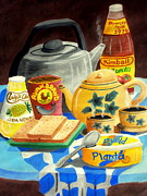 Table Cloth Drawings Prints - A Warm Breakfast Print by Adam Wai Hou